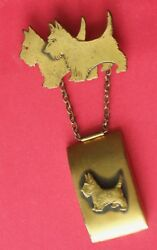Vintage SCOTTY Terrier Dogs Pin Brooch with Locket Pendant Holds