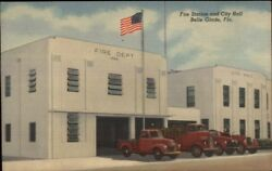 Belle Glade FL Fire Station Trucks & City Hall Linen Postcard