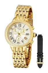 New Gevril Gv2 2 Pc Set Gold+black Leather Band50 Diamonds Watch 9131-msrp2995