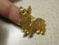 VINTAGE JOAN RIVERS YORKIE YORKSHIRE TERRIER DOG GOLD PLATED PIN BROOCH