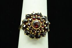 Adorable 14k Yellow Gold Ring With Garnet Stones Sz 5.75 Gold 521