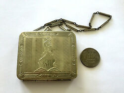 Antique Victorian Silver Plated Etched Coin Change Purse Wallet With Mirror