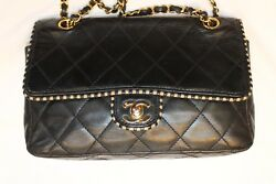 CHANEL Quilted Black Tan Leather Turnlock Flap Chain Crossbody ShoulderBag Purse