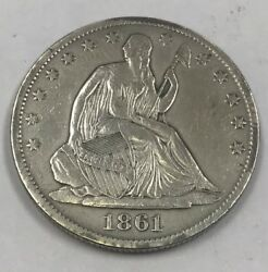 1861 O Seated Liberty Silver Half Dollar Vf Details Bisected Date Die Crack -t9