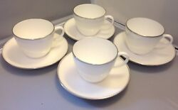 Wedgwood Doric W4212 White Platinum Trim Green Backstamp Set Of 4 Cups And Saucers