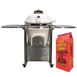 Icon Grills 800 Series 714 Sq In White Kamado Grill with Royal Oak Lump Charcoal