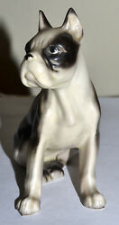 VINTAGE BOSTON TERRIER DOG FIGURINE SITTING BLACK & WHITE GIRL FEMALE
