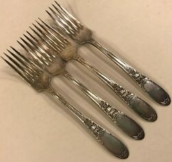 4 Forks Burgundy Champagne 1934 Wm Rogers International Silver Grapes No Mono