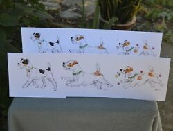 Jack Russell terrier.Post cards made from my original watercolor.Set of 5 .LOOK!