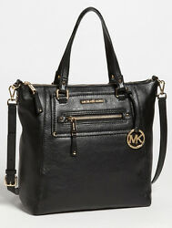 NWT MICHAEL KORS Gilmore Large Black Leather ToteGold Logo Bag Crossbody Purse