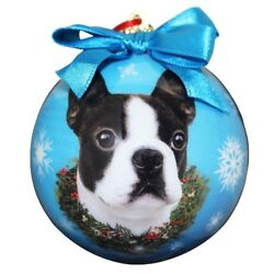 Boston Terrier Christmas Ornament Shatter Proof Ball Easy To Personalize A