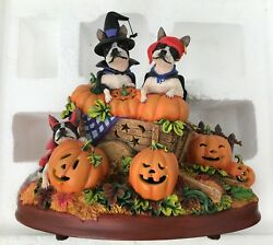 Danbury Mint Pumpkin Patch Boston Terrier Dogs ~ Halloween figurine ~ lights up