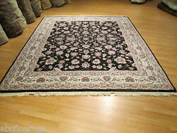 8x10 Rare Allover-pattern Black Handmade-knotted Wool Oriental Rug 580385