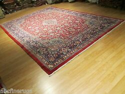 Estate Ca 1960 10x14 Unique Gorgeous Rectangle Handmade-knotted Wool Rug 580285