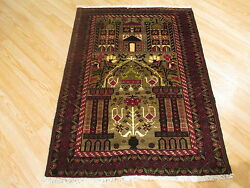 Estate 3x4 Amazing Collectable Handmade-knotted Fine Wool Prayer Rug 583345