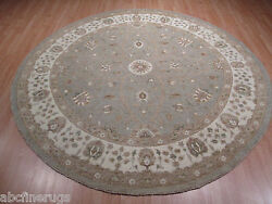 8and039 Feet Round 8x8 Amazing Light Color Palette Handmade-knotted Wool Rug 582904