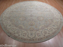 8and039 Feet Round 8x8 Ligth Color Palette Lovely Handmade Knotted Wool Rug 582951