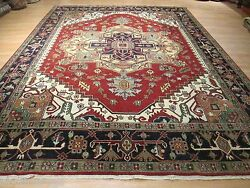 10x14 Museum Very Unique Serapi Vegetable Dye Handmade- Knotted Wool Rug 580526