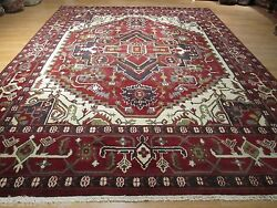 10x14 Museum Gorgeous Serapi Vegetable Dye Handmade-knotted Wool Rug 580260