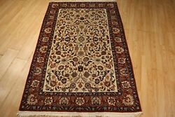 Estate Circa 1960 4x6 Museum Floral Handmade-knotted Wool Rug 582425