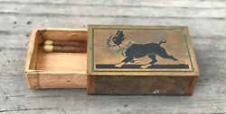Vintage Match Holder w trotting Boston Terrier Dog