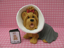 Handsculpted Yorkie Yorkshire Terrier in Cone of Shame & Get Well Card Figurine