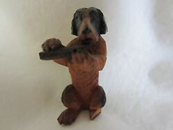 Antique Anri Italy Wood Carved Fox Terrier Schnauzer Dog Figurine Flute Playing