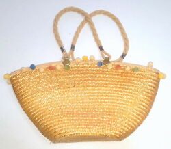 VINTAGE VTG Made in Italy STRAW Beach Bucket Tote Bag Purse Pom Poms LARGE h9