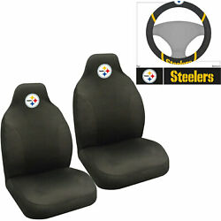 Nfl Pittsburgh Steelers Car Truck 2 Front Seat Covers And Steering Wheel Cover Set