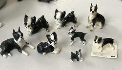 Collection of 8 Vintage Mini Boston Terrier Dog Figurines ~ Hagen-Renaker