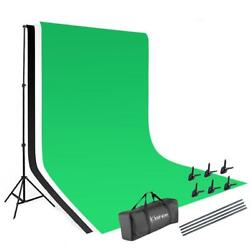 Photography 10ft Backdrop Stand Kit 1.63m Green Screen Black White With Clamps