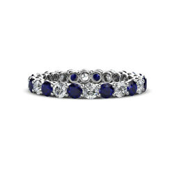 Blue Sapphire And Diamond Eternity Ring Stackable 1.88 Ctw 14k Gold Jp148691