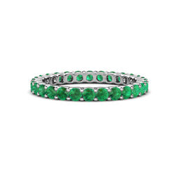 Emerald Womens Eternity Ring Stackable 1.21 Ctw 14k White Gold Jp19811