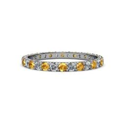 Citrine And Diamond Womens Eternity Ring Stackable 1.45 Ctw 14k Gold Jp12441