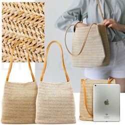 Women Straw Beach Bag tote Shoulder Bag Summer Handbag $12.99