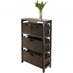 Winsome Trading 92533 Granville 5pc Storage Shelf With 2 Large And 2 Small Fo...