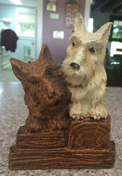 Vintage Syroco wood SCOTTIE TERRIER Dog Clothing Brush Holder Original SWANK