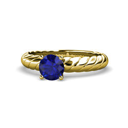 Blue Sapphire Womens Solitaire Engagement Ring 0.95 Ctw 14k Yellow Gold Jp11893