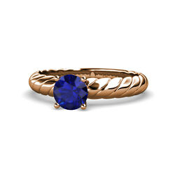 Blue Sapphire Womens Solitaire Engagement Ring 0.95 Ctw 14k Rose Gold Jp118936