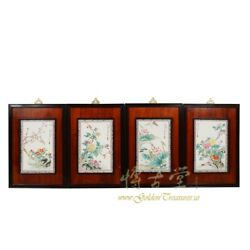 Chinese Antique Painted Porcelain Panels -wall Hanging 18lp71