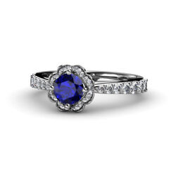 Blue Sapphire And Diamond Womens Halo Engagement Ring 1.33 Ctw 14k Gold Jp54061