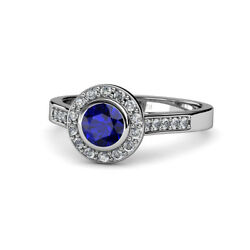 Blue Sapphire And Diamond Womens Halo Engagement Ring 1.31 Ctw 14k Gold Jp53998