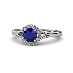 Sapphire And Diamond Womens Halo Engagement Ring 1.11 Ctw 14k White Gold Jp111942