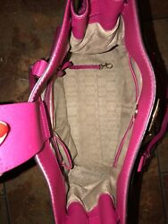 Leather Dark Pink Michael Kors Tote with Matching wallet amp; gold accents  $200.00