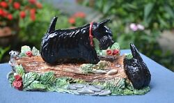 Scottish terrier.Hunting. Handsculpted ceramic scene.. OOAK