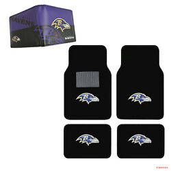 Nfl Baltimore Ravens Car Truck Carpet Floor Mats And Synthetic Leather Wallet Set