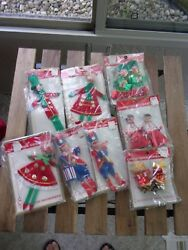 Vintage Felt  Foil Christmas Tree Ornaments LOT NEW IN PACKAGE from Woolco Drug