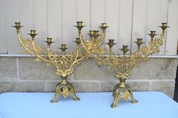 + Old Pair 7 Light French Candelabra Candlesticks + 20 1/4 Ht Sl35 Chalice Co