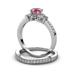 Rhodolite Garnet And Diamond 1.27 Ctw Engagement Ring And Band 14k Gold Jp71004