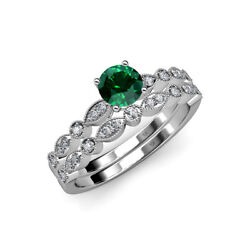 Emerald And Diamond Engagement Ring And Matching Band 1.15 Ctw 14k Gold Jp69511